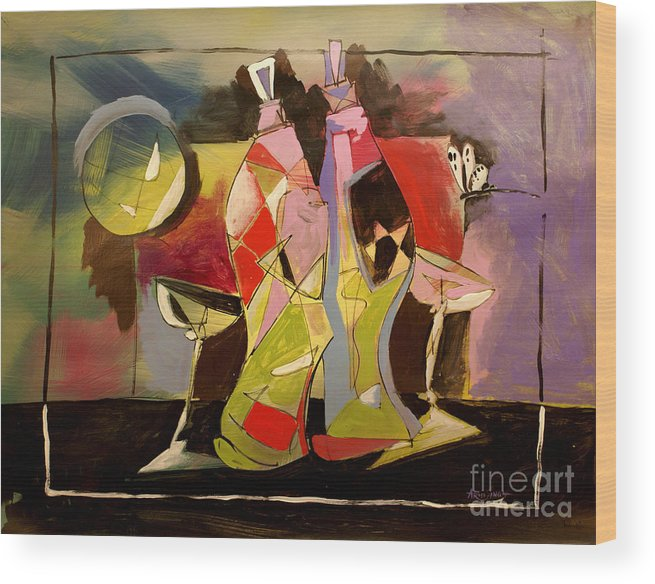 Still Life Wood Print featuring the painting Still Life1 by Real ARTIST SINGH