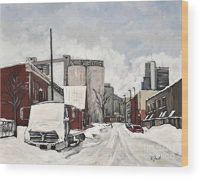 Pointe St. Charles Wood Print featuring the painting Streets Of Montreal Pointe St. Charles by Reb Frost