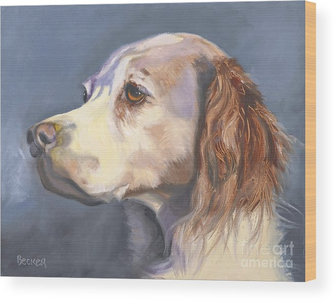 Spaniel Wood Print featuring the painting Such A Spaniel by Susan A Becker