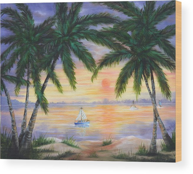 Seascape Wood Print featuring the painting Summer Sunset by Ruth Bares