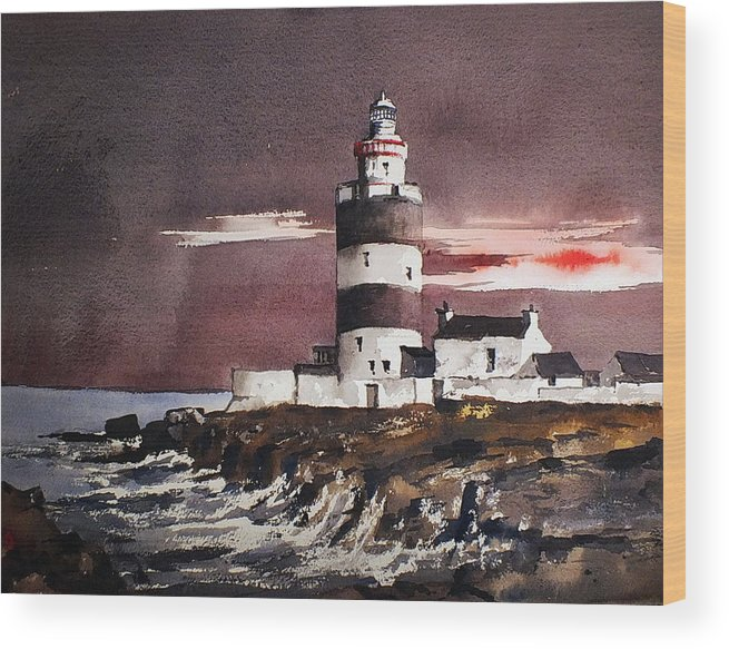 Val Byrne Wood Print featuring the painting Sunset On Hook Head Wexford by Val Byrne