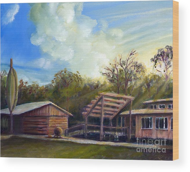 Landscape Wood Print featuring the painting Sunset On The Slips by Kevin Leadholm