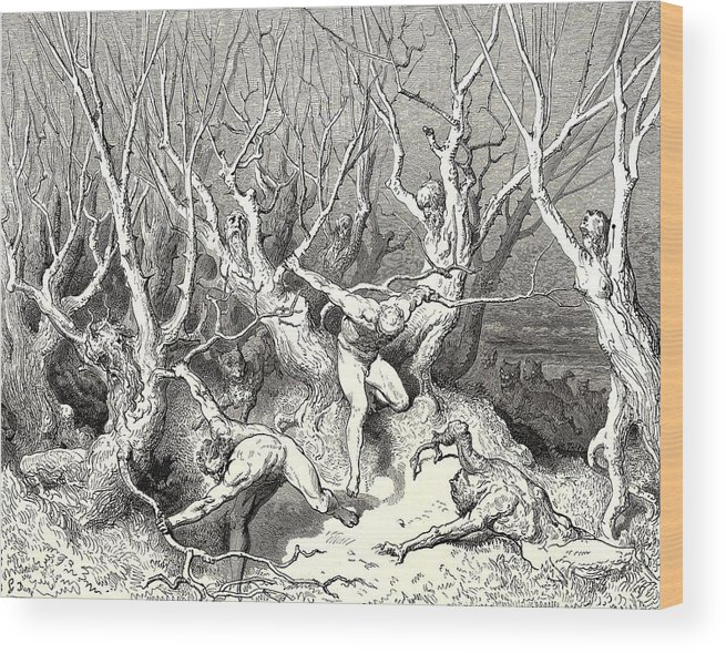 The Killing Trees From Dantes Inferno Wood Print