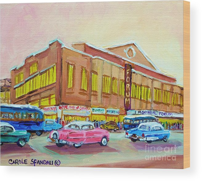 Montreal Wood Print featuring the painting The Montreal Forum by Carole Spandau