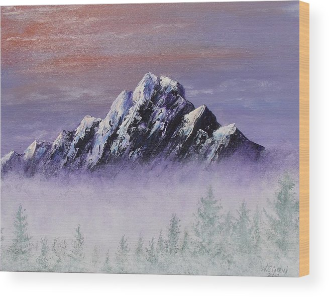 Peak Wood Print featuring the painting The Peak by Walter Carrick