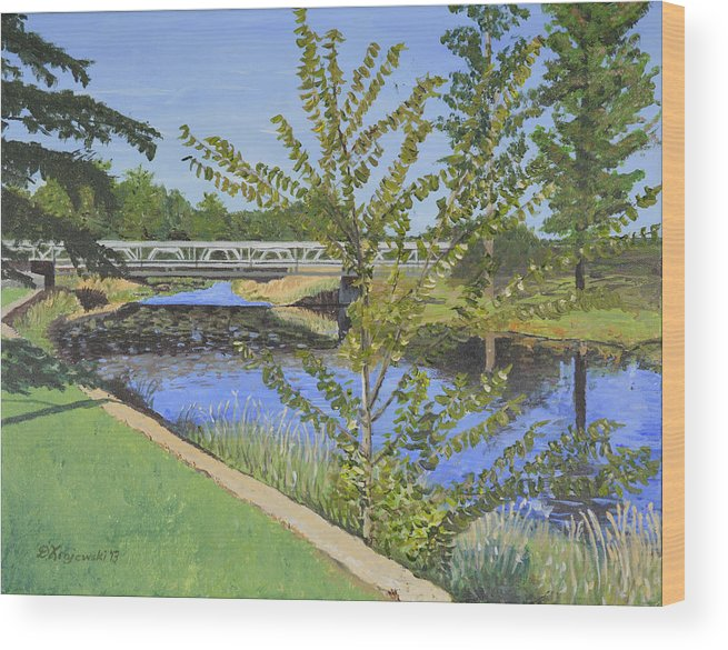 South Nation River Wood Print featuring the painting The South Nation River At Spencerville Historic Mill by Dorothy Krajewski