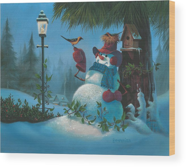 Michael Humphries Wood Print featuring the painting Tweet Dreams by Michael Humphries