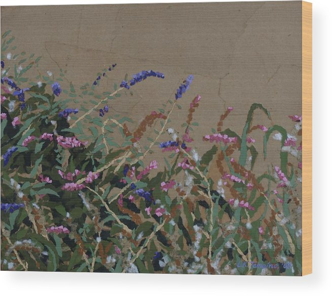 Flowering Butterfly Bush Wood Print featuring the painting Tyler by Leah Tomaino