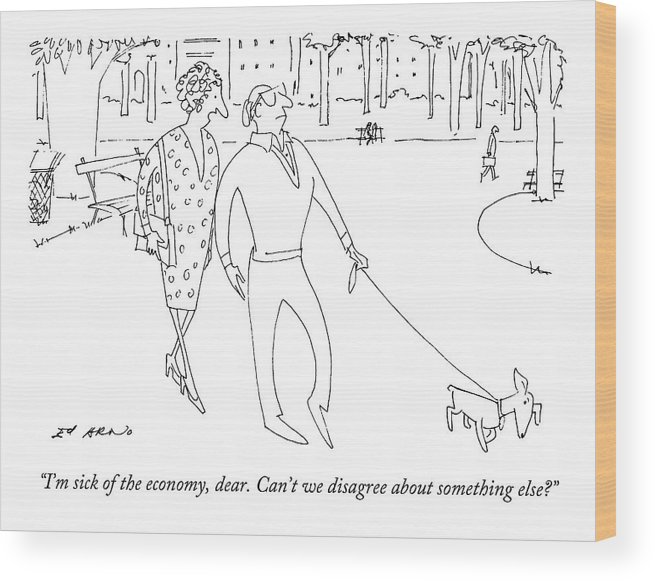 Marriage Wood Print featuring the drawing I'm Sick Of The Economy by Ed Arno
