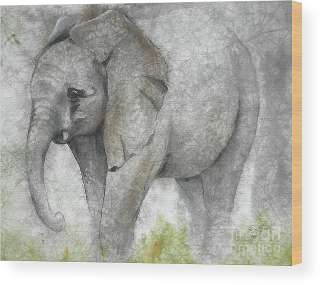 Elephant Wood Print featuring the painting Vanishing Thunder Series-baby Elephant I by Suzanne Schaefer