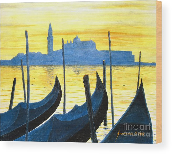 Venice Wood Print featuring the painting Venezia Venice Italy by Jerome Stumphauzer