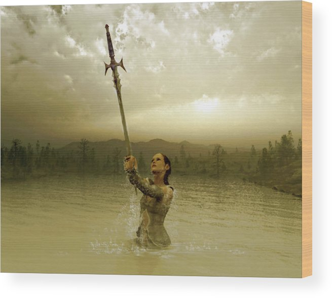 Sword Wood Print featuring the digital art Viviane And The Excalibur by K I M