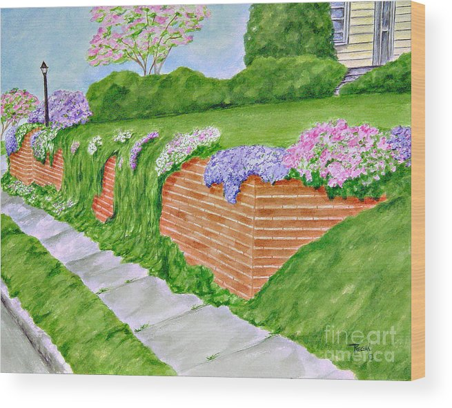 Landscape Wood Print featuring the painting Wall Of Flowers by Regan J Smith