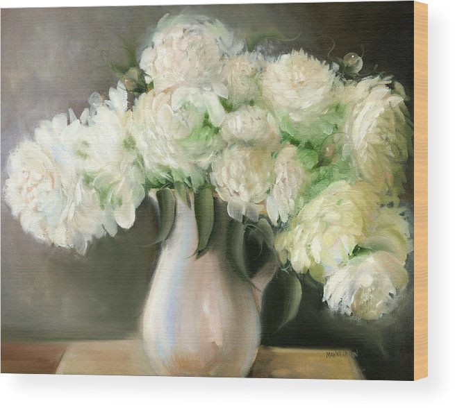 White Flowers Wood Print featuring the painting White Peonies by Melissa Herrin