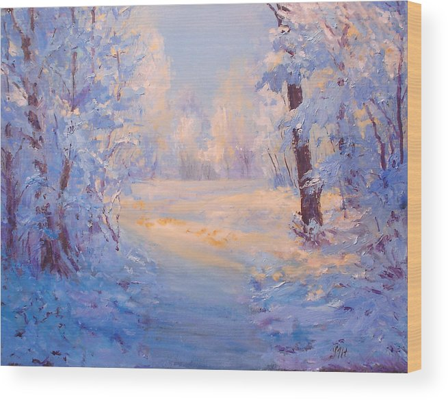 Landscape Wood Print featuring the painting Winter Path. by Julia Utiasheva
