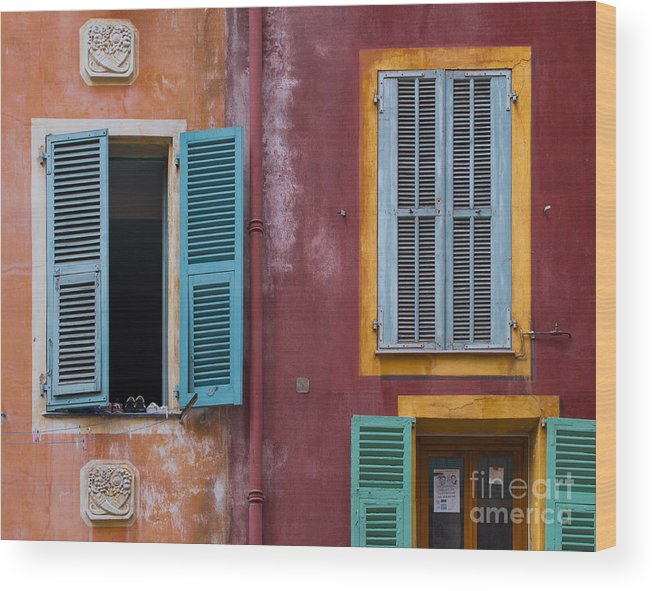 French Riviera Wood Print featuring the photograph Yellow Frame by Judith Barr