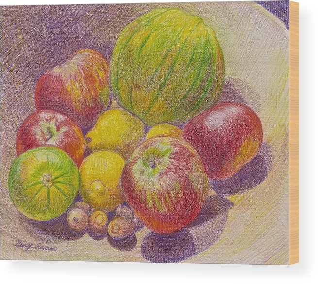 Color Pencil Drawing Wood Print featuring the photograph 1 2 3 4 5 by George Ramos