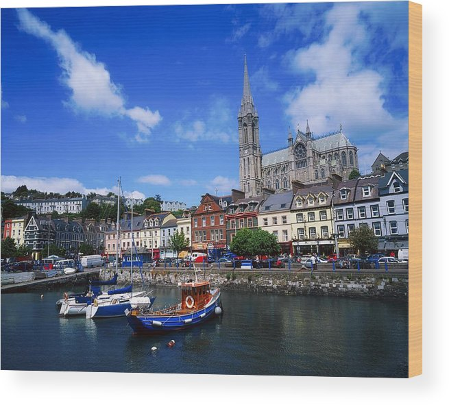 Blue Sky Wood Print featuring the photograph Cobh Cathedral & Harbour, Co Cork by The Irish Image Collection