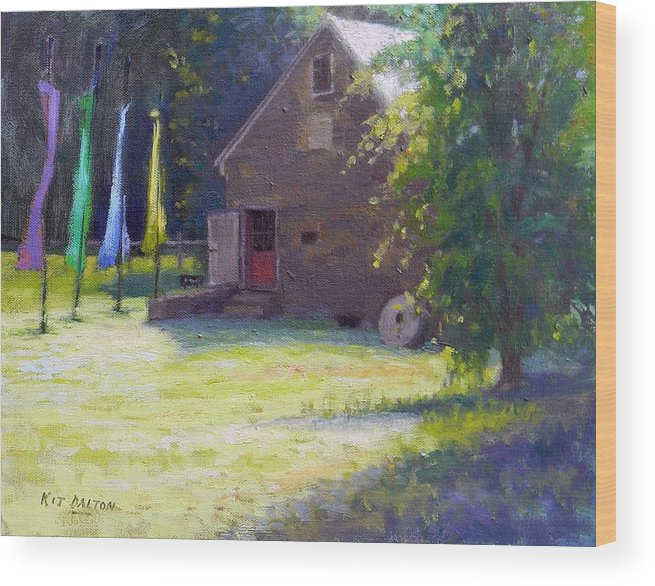 Prallsville Mill Wood Print featuring the painting Ty Hodanish Gallery At Prallsville Mill by Kit Dalton