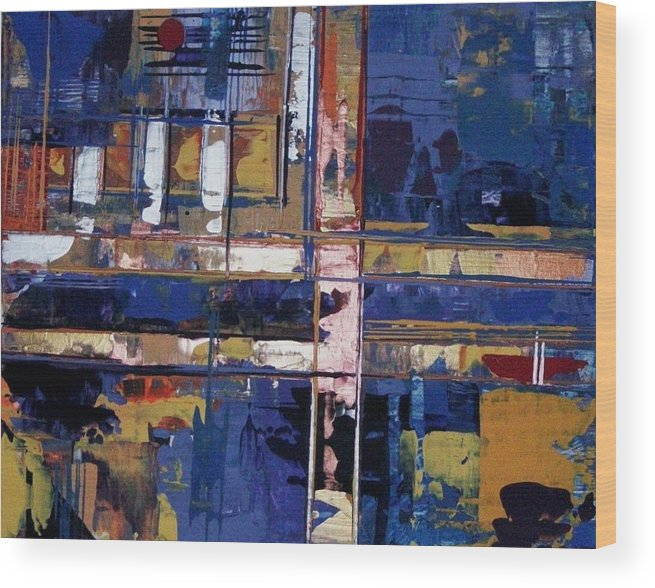Abstract-expressionism Wood Print featuring the painting Ain't Easy Comin' From The Wrong Side Of The Tracks by Charlotte Nunn