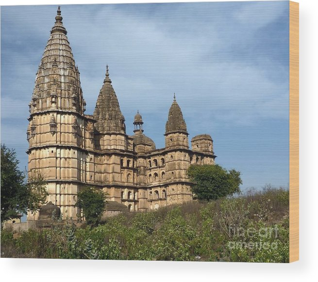 Temple Wood Print featuring the photograph Chhatris Orchha India by Sophie Vigneault