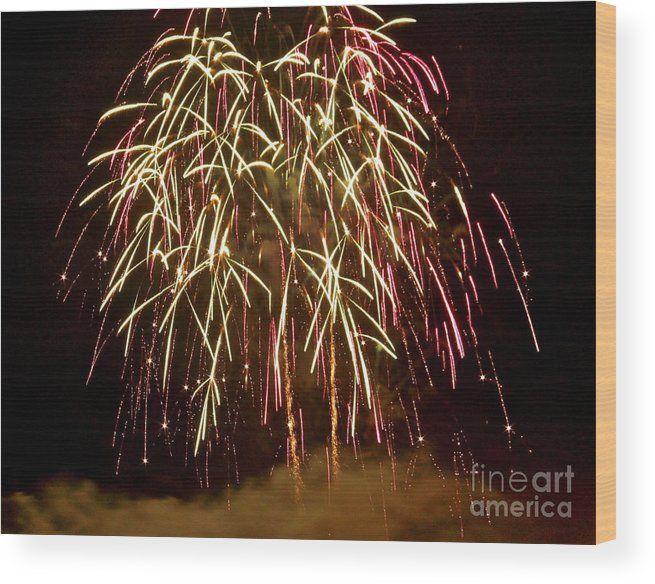 Fireworks Wood Print featuring the photograph Fireworks II by Carol Bradley