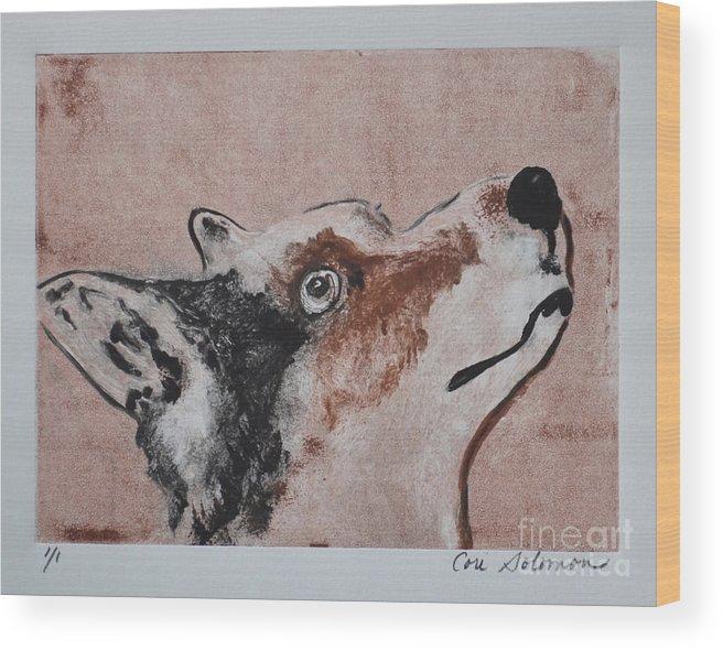 Corgi Wood Print featuring the mixed media High Alert by Cori Solomon