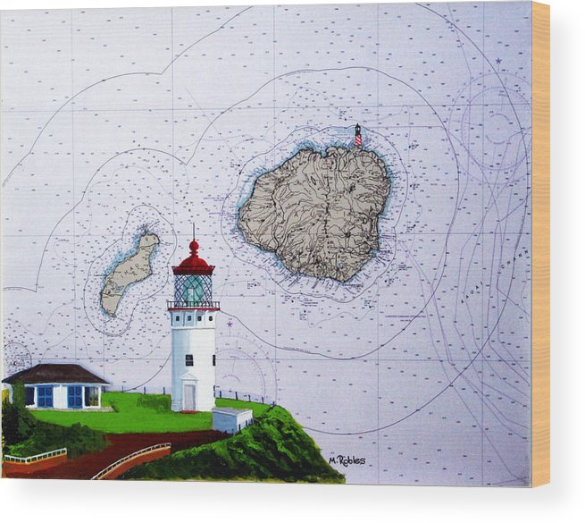 Kilauea Wood Print featuring the painting Kilauea Point Lighthouse On Noaa Chart by Mike Robles