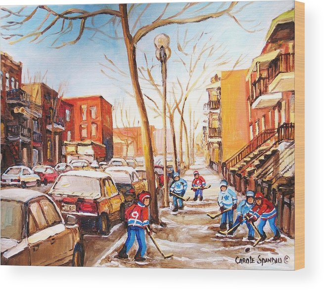 Montreal Street Scene With Boys Playing Hockey Wood Print featuring the painting Montreal Street With Six Boys Playing Hockey by Carole Spandau