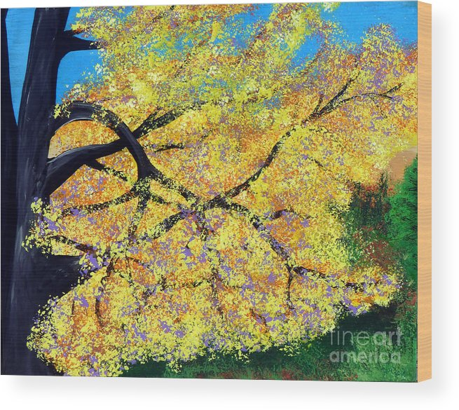 Indiana Wood Print featuring the painting October Fall Foliage by Alys Caviness-Gober