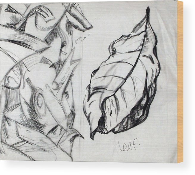 Charcoal Wood Print featuring the drawing Palm And Leaf by Jana Barros