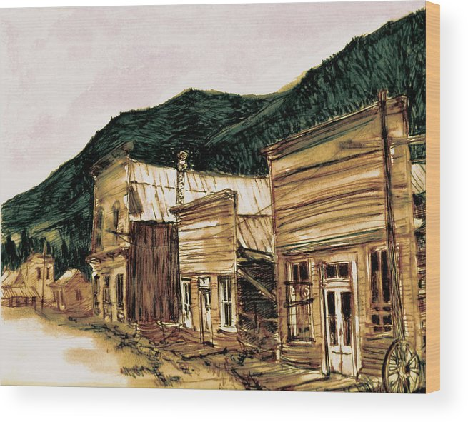 Wood Print featuring the painting St. Elmo Nevada by Kitty Meekins