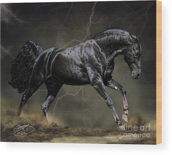 Horse Wood Print featuring the digital art The Black by Dawn Young