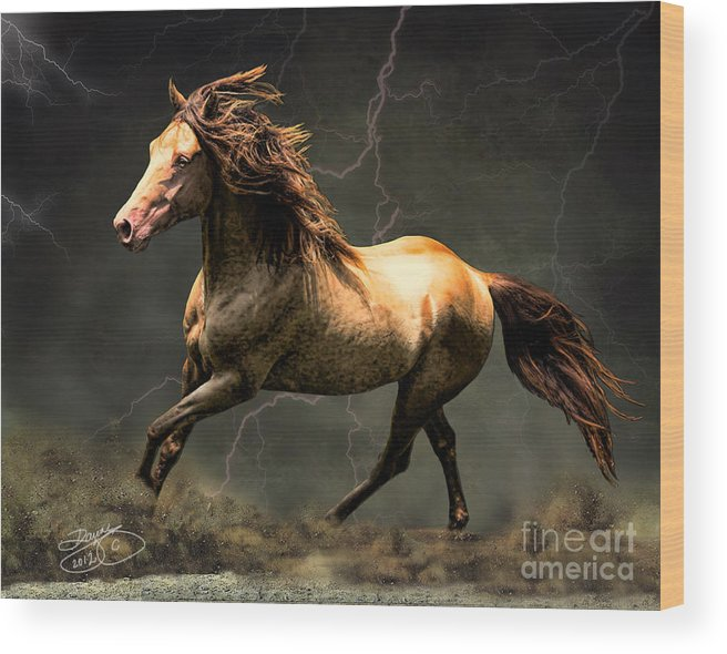 Horse Wood Print featuring the digital art The Gold by Dawn Young