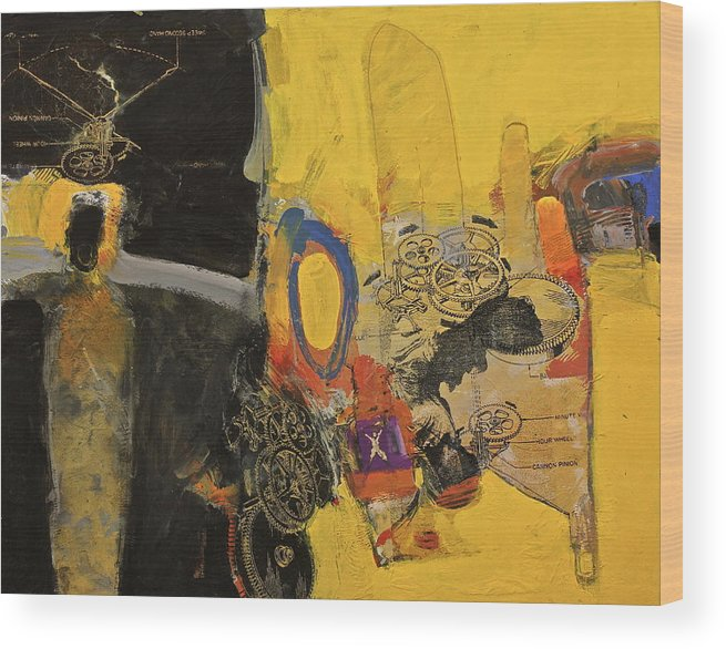 Abstract Painting Wood Print featuring the painting Tiny Dancer's Audition At Samothrace by Cliff Spohn