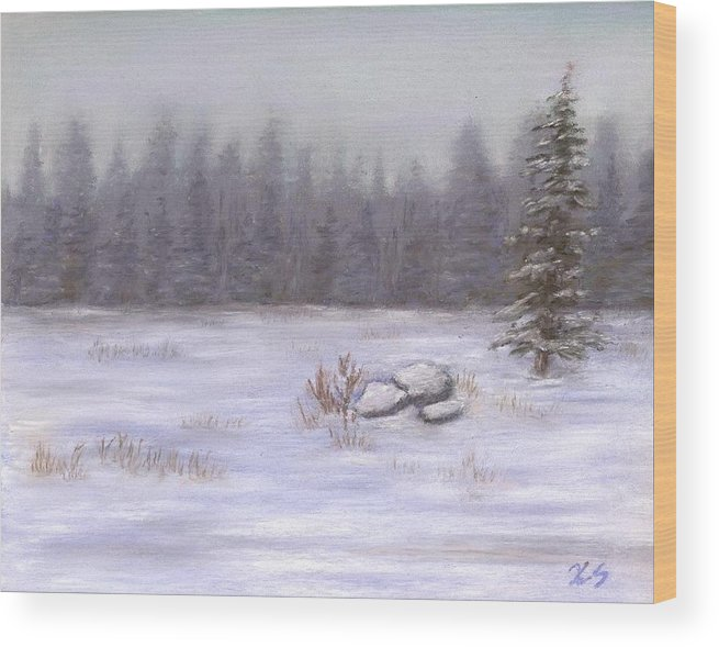 Landscape Wood Print featuring the painting Winter Calm by Xenia Sease