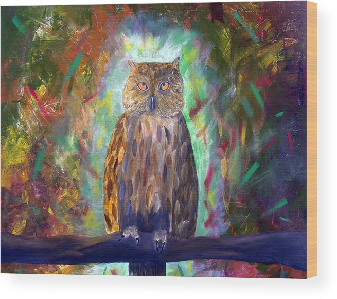 Owl Wood Print featuring the painting Wisdom by RJ James