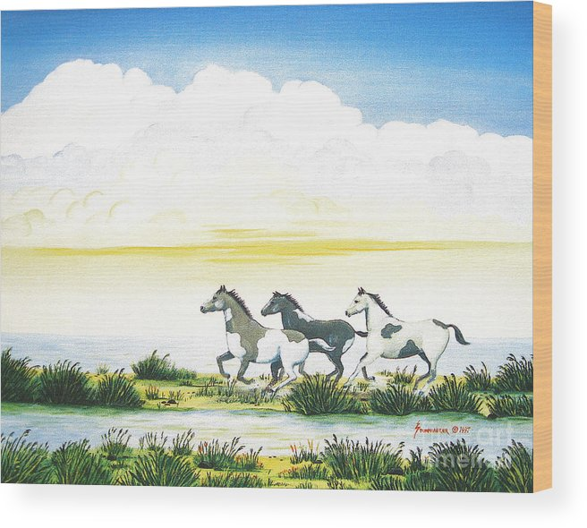 Chincoteague Wood Print featuring the painting Indian Ponies by Jerome Stumphauzer