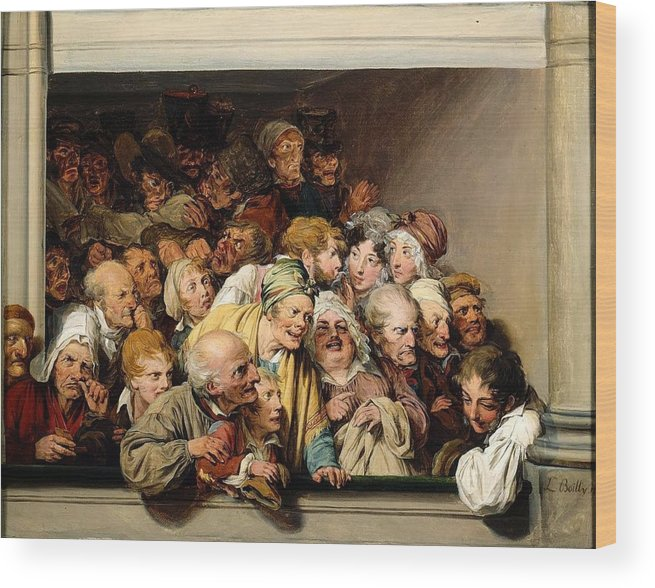 Louis Léopold Boilly - Loge During A Day Of Free Entertainment 1830 Wood Print featuring the painting Loge During A Day Of Free Entertainment by MotionAge Designs