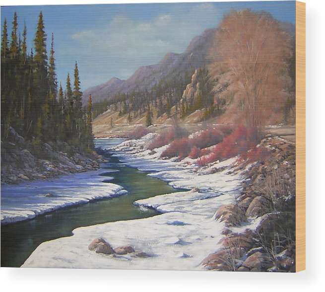 Landscape Wood Print featuring the painting 060328-2822  Remnants Of Winter  by Kenneth Shanika
