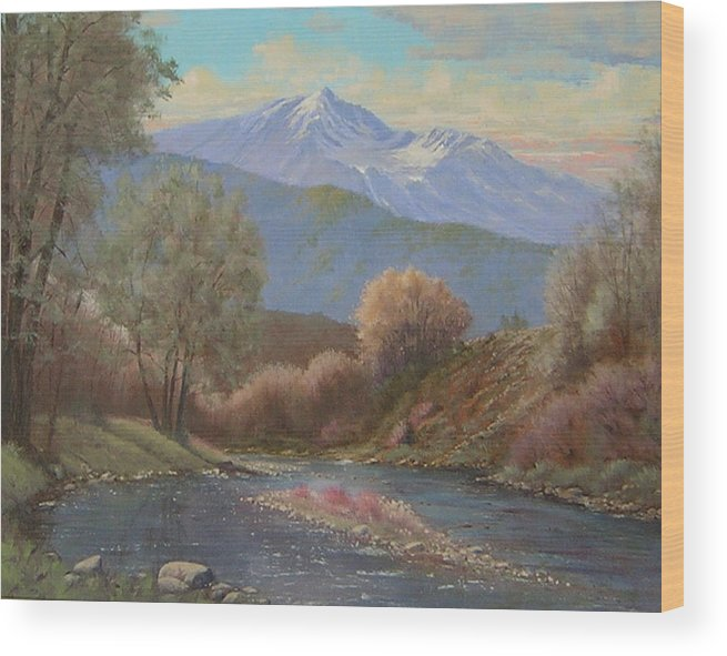 Landscape Wood Print featuring the painting 060630-1814 The Land Awakes In Spring  by Kenneth Shanika