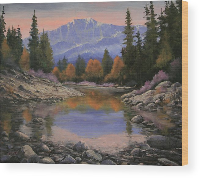 Landscape Wood Print featuring the painting 080120-1814 October View - Pikes Peak by Kenneth Shanika
