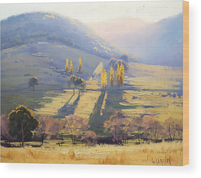 Rural Wood Print featuring the painting Afternoon Glow by Graham Gercken