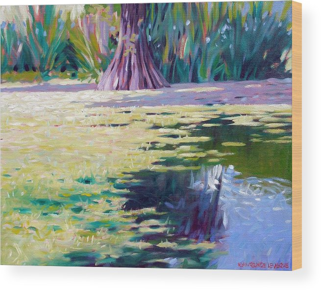 Water Wood Print featuring the painting Algae by Kevin Lawrence Leveque