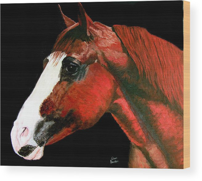 Horse Wood Print featuring the painting Big Red by Stan Hamilton