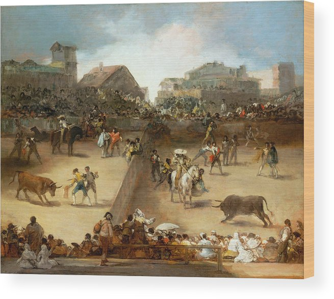Bullfight Wood Print featuring the painting Bullfight In A Divided Ring by Francisco Goya