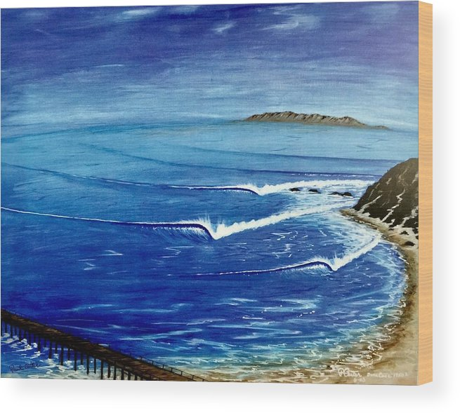 Danapoint Wood Print featuring the painting Dana Point 1950s 1 by Paul Carter