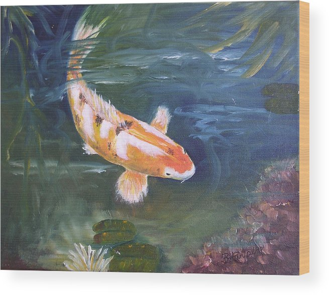 Koi Wood Print featuring the painting Doitsu Koi by Barbara Harper