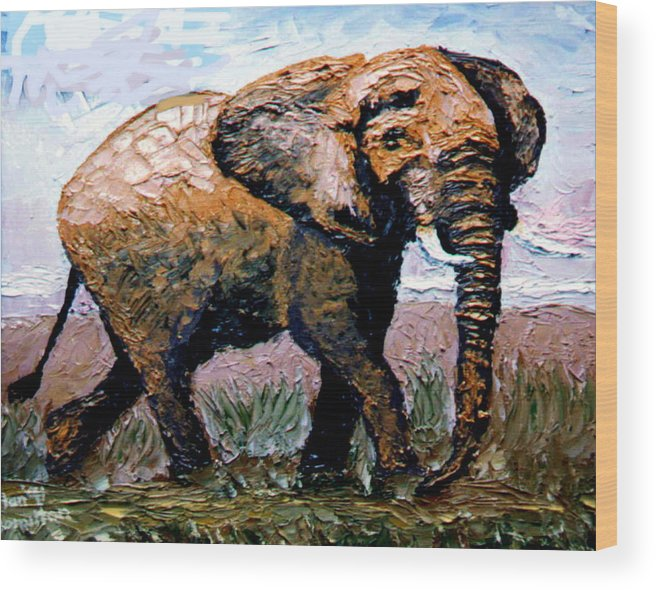 Elephant Wood Print featuring the painting Elephant by Stan Hamilton
