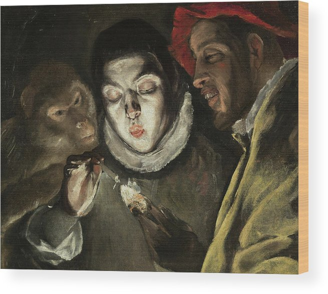 Allegory Wood Print featuring the painting Fable by El Greco